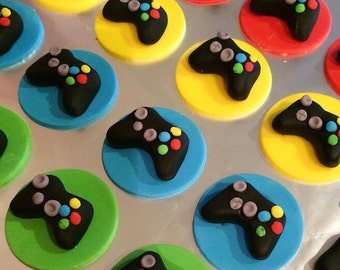 12 Fondant game control cupcake toppers