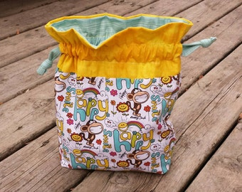 SALE!! Happy/Smile Monkey Drawstring Knitting Crochet Project Bag - Ready to ship