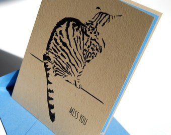 Miss You Cat Card, Missing You, Come Home Soon, Wish You Were Here, Sad Cat, Tabby Cat Card
