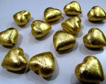 5 Pieces Heart Shape Metal Beads, 24 kt Gold Plated Beads, Handmade Spacer Beads Size 16mm.