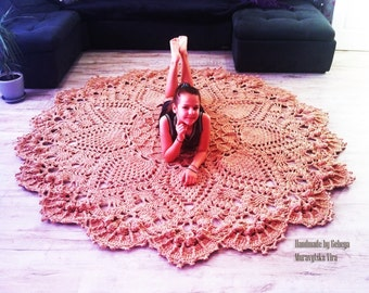 Extra Large round Crochet rug  carpet - living room rug floor mat carpet. French country decor