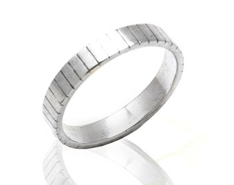 Men's Silver wedding band ring - 925 sterling silver men's band ring - wedding jewelry
