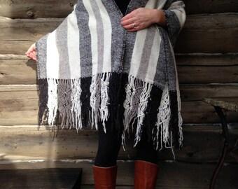 Womens Stripe Wool Shawl