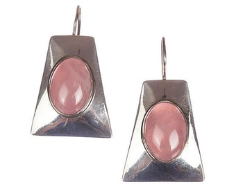 Navajo Rose Quartz Cabochon Earrings