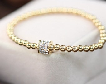 Brand New Handmade 18K Gold Plated Beads Bracelet with Cubic Zirconia Finding Elastic