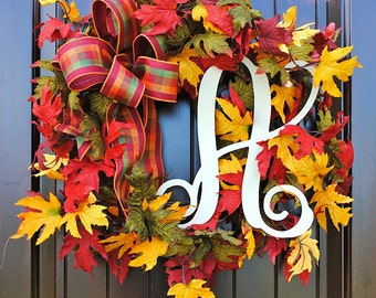 Fall wreaths, fall wreath for front door, wreath for door, wreaths, fall leaf wreath, wreath with fall colors, maple leaf wreath