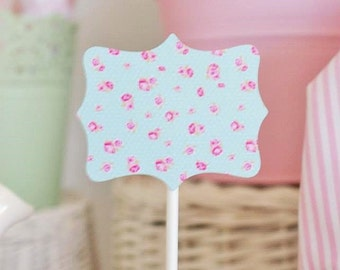 Shabby Chic Mint Flowers Plaque Toppers