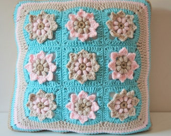 Crocheted pillow cover ,Throw cushion ,handmade pillow case - Cherry blossom