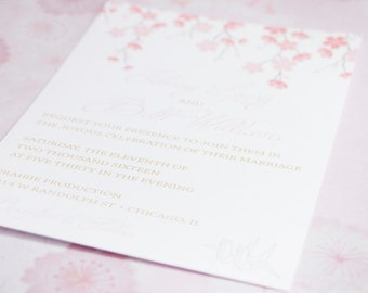 Japanese -Inspired Cherry Blossom & Origami Crane Wedding Invitations Instant Download