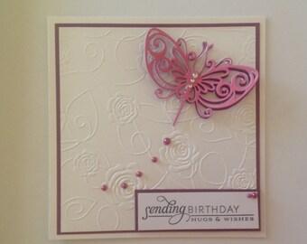 Handmade embossed birthday card