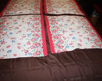 Four Cotton Border Printed Napkins