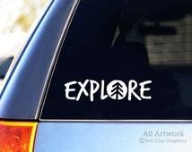 Explore Car Decal, Vinyl Sticker, Vinyl Decal - Outdoor Recreation & Adventure - Car or Vehicle Window Decal, Laptop Sticker, Bumper Sticker