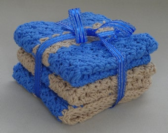 Washcloths -Set of 3 in Blueberry and Ecru