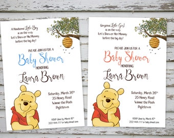 Winnie the Pooh Baby Shower Invitation, Winnie the Pooh Printable Shower Invite, Bear Baby Shower Invite, DIY Invite