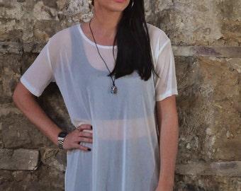 90s retro oversized white sheer mesh t-shirt dress top