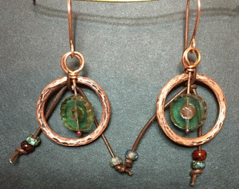 Waiting...Leather, Copper and Czech Glass Earrings