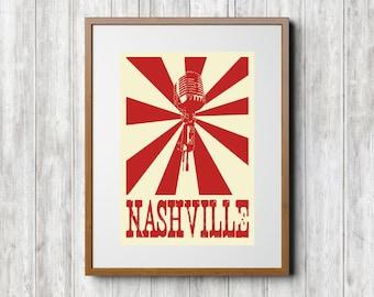 Tennessee Print - Nashville Print - Nashville Tennessee Print - State Print - Vintage Print