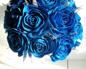 Paper flowers Royal Prince Blue wedding table decor bouquet royal peacock bridal baby boy shower Navy beach Party Blue baptism centerpiece