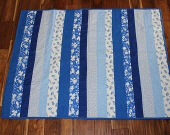 Handmade Quilt - Blue, white, floral