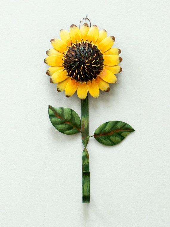 Primitive Sunflowers Wall Hooks Home Decor Peg Hanger For