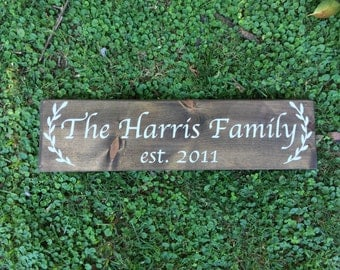 large family sign, last name signs, family name signs, established signs, family sign