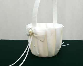 Flower Girl Basket in Ivory or White Satin