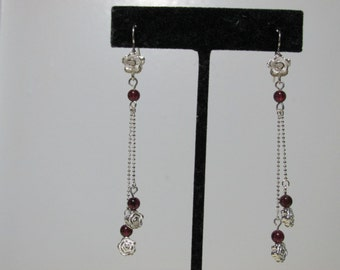 Sterling silver Rose Earrings With Garnets