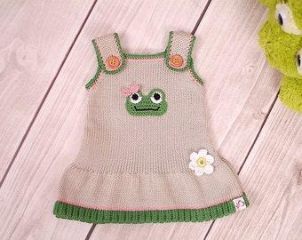 Frog dress, knit dress baby, child