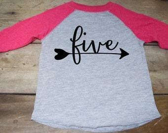 Girls Five Birthday Shirt - Five Arrow Shirt - Four Raglan Shirt - Five Year Old Shirt -  5 Year Old Shirt - Birthday Shirt 5 - 5th Shirt