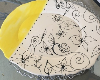 Yellow Wednesday platter with hand painted black flowers
