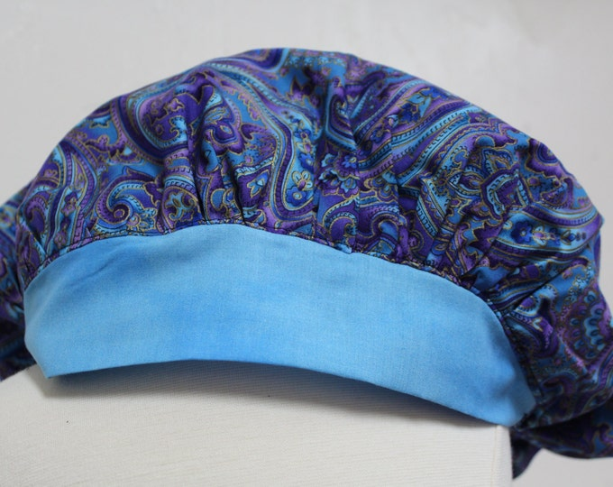 Blue paisley Surgical scrub cap, Surgical scrub hat, Pony tail scrub hat, Blue elastic stretch scrub cap, Girl surgical hat,Tech scrub cap