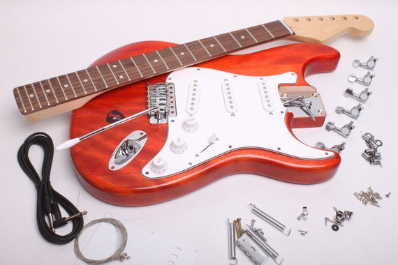 items similar to build your own electric guitar kit strat kit finished with wudtone carmine. Black Bedroom Furniture Sets. Home Design Ideas