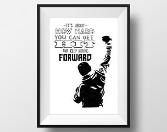 Keep Moving Forward - Rocky Movie Quote Print Film Gift