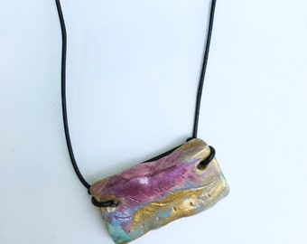 Watercolor Effect Clay Pendant