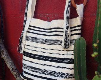 Handwoven ethnic handbag, black and white striped woven bag