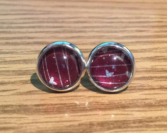 10mm Silver Hearts and Lines on Maroon Sparkle Background Stud Earrings