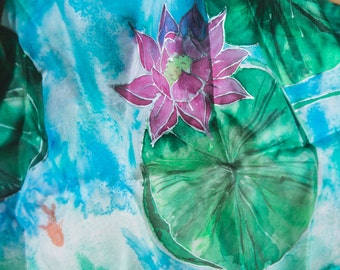 Water Lily Silk Scarf - hand painted silk scarf - handmade silk - gift for her - gift ideas - water theme silk scarf - hand painted flowers