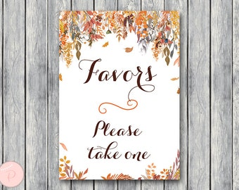 Fall Autumn Favors Sign, Wedding Favor sign, Shower Favors sign, party favor sign, Printable sign, Wedding decoration sign WD84 TH47