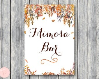 Fall Autumn Mimosa Bar Sign, Bubbly Bar Sign, Wedding Bar, Printable Sign, Wedding Decoration Sign, Engagement Party Mimosa WD84 TH47