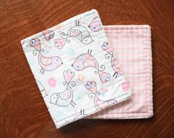 Pink burp cloths - Girl burp cloths - Birds burp cloths