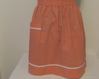 Handmade Apron/Hostess/Coral/White Rick Rack/One Of A Kind/Housewarming/Granny Apron/Size Small -XXL/Apron Collection/Ready 2 Ship
