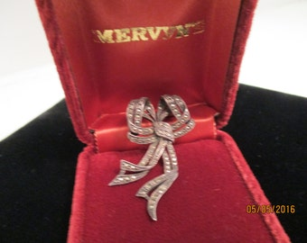 Marcasite Silver Bow Pin