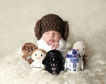 Newborn Princess Leia Hat, Photo Props, Crochet Hat, Star Wars,  Star Wars Hat, Star Wars Costume,  Star Wars Halloween Costume, Handmade