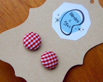 Cute As A Button Earstuds in Rosie Gingham