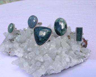 Jade rings (sterling silver .950)