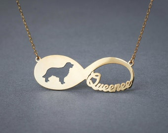 14k Solid Gold Personalised INFINITY GOLDEN RETRIEVER Necklace - 14k Gold Golden Retriever Necklace - Name Necklace
