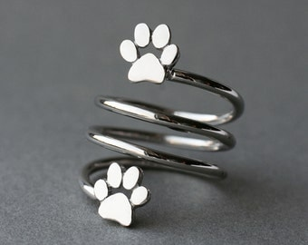 Adjustable 3 Spiral Paw Ring / Double Paw Ring / Silver, Gold Plated or Rose Plated.