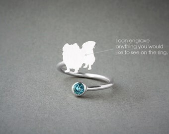 Adjustable Spiral PEKINGESE BIRTHSTONE Ring / Pekingese Longhaired Birthstone Ring / Birthstone Ring / Dog Ring