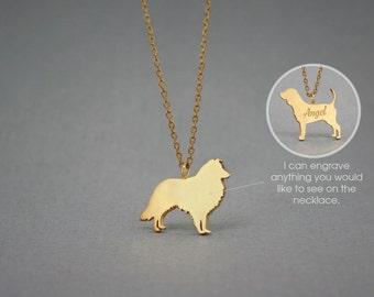 14K Solid GOLD Tiny SHETLAND SHEEPDOG Name Necklace - Collie Necklace - Gold Dog Necklace - 14K Gold or Rose Plated on 14k Gold Necklace