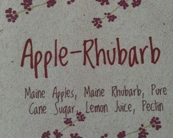 Apple Rhubarb Jam, Maine Apples, Maine Rhubarb, Maine Made, half pint